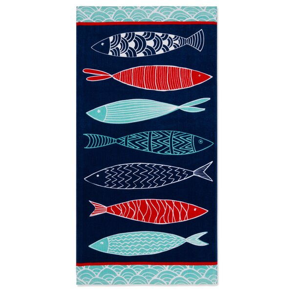 Lowrey Fish 100% Cotton Beach Towel by Breakwater Bay